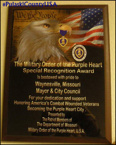 City of Waynesville, Mo Purple Heart City plaque.