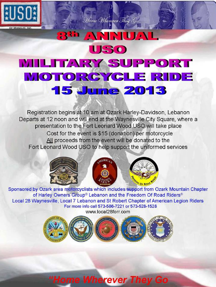 8th Annual USO Military Support Motorcycle Ride Flyer