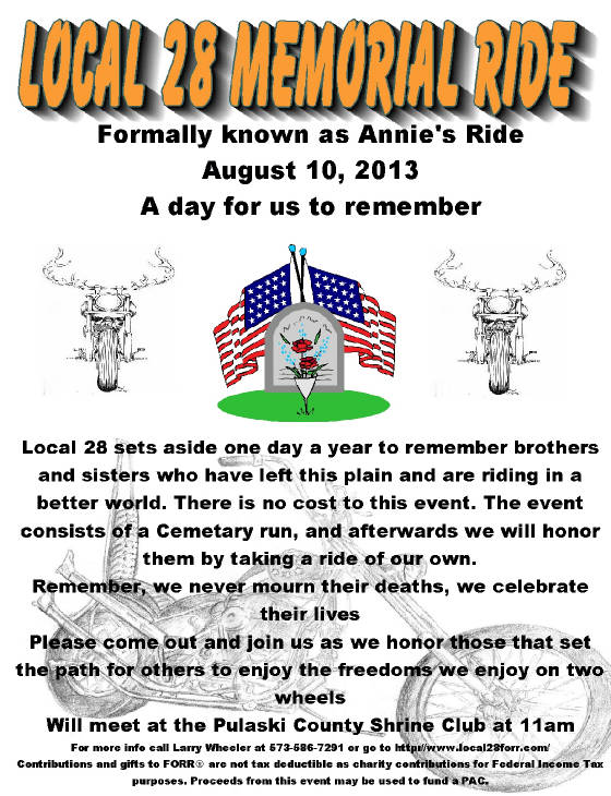Local #28 Memorial Ride Flyer