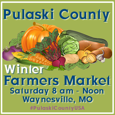 Pulaski County Farmers' Market is held year round in Waynesville, Missouri.