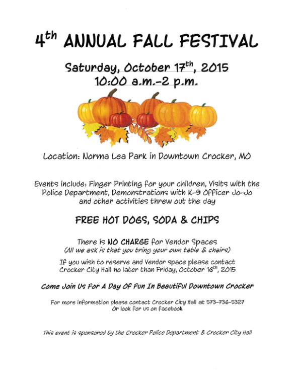 October 17 Crocker Fall Festival
