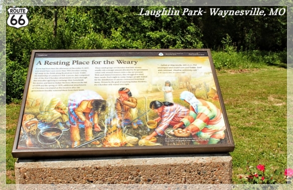 Story boards reveal the tragic tale of the Trail of Tears at Laughlin Park in Waynesville, MO. Image by Laura Huffman for Pulaski County Tourism Bureau.
